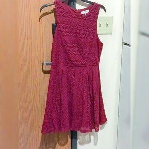 Burgundy Skater Dress with Floral Lacing